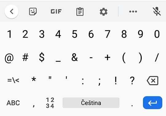 jak napsat zavináč na mobilu a tabletu