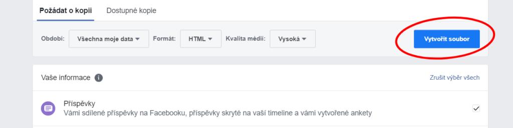 jak stáhnout data z facebooku