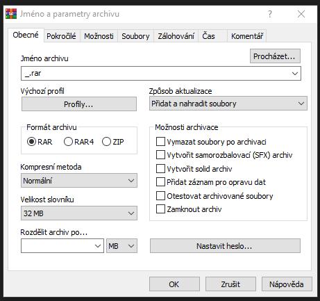 jak vytvořit rar archiv